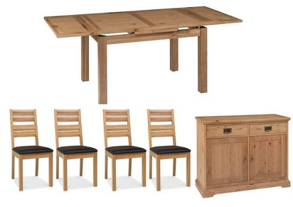 75c5f0d4d9 Back to: Furnitureland. Compton Oak Extending Dining Table with 4 Slatted  Chairs and Sideboard