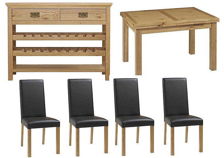 Compton Extending Oak Dining Table And 4 Chairs With Console Table
