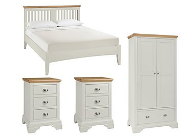 Emily Kingsize Bed Frame with 2 Bedside Chests and Wardrobe in  on Furniture Village