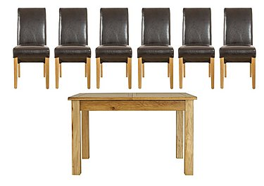 Arlington Dining Table with 6 Roll Back Brown Chairs in  on Furniture Village
