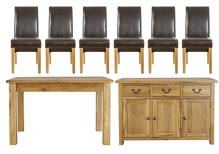 Arlington Dining Table with 6 Brown Chairs and Large Sideboard in  on Furniture Village