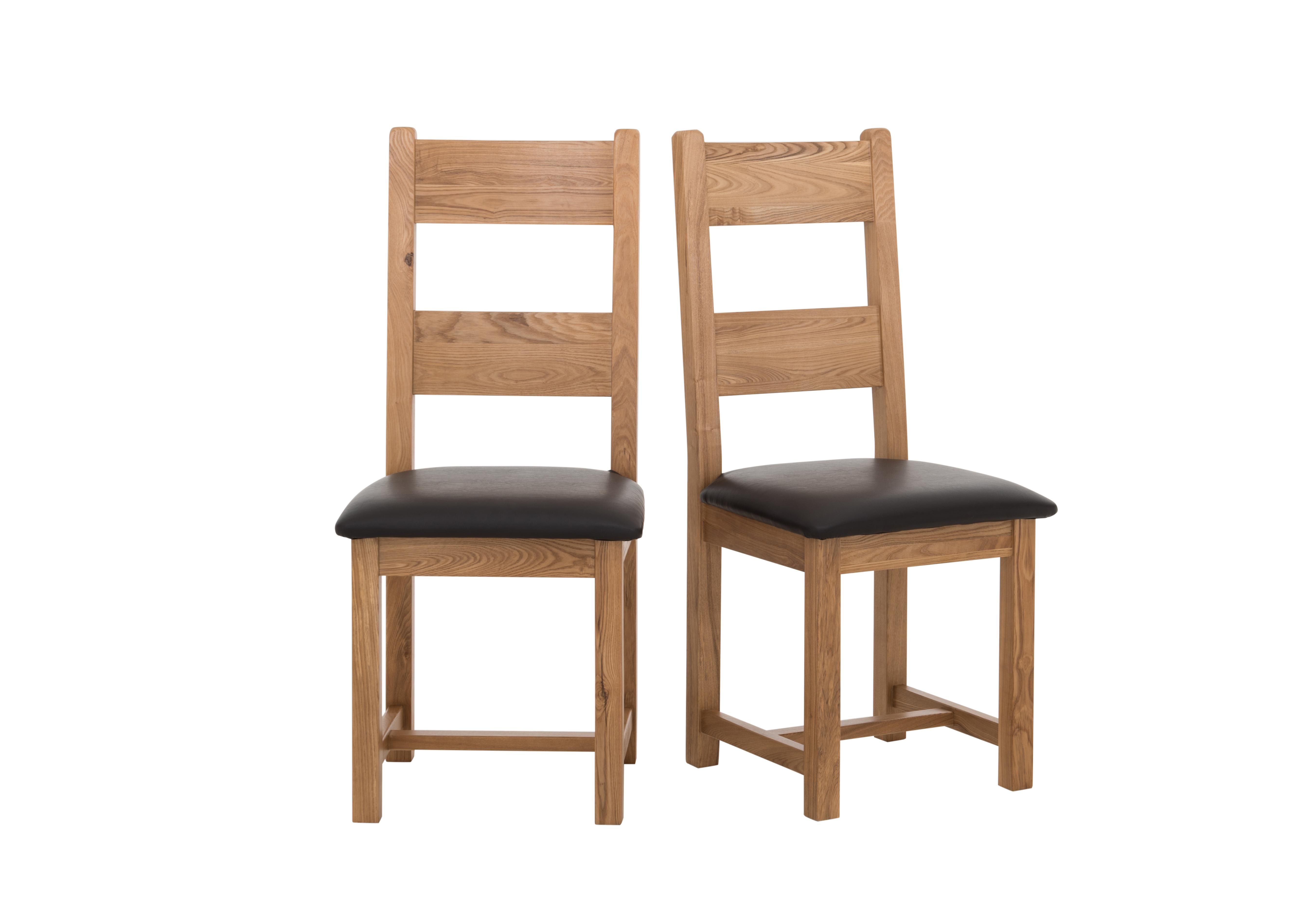 Furnitureland California Pair Of Wood Ladderback Chairs