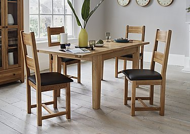 California Extending Rectangle Dining Table and 4 Wood Chairs in  on Furniture Village