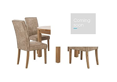 California Extending Round Dining Table and 4 Faux Suede Chairs in  on Furniture Village