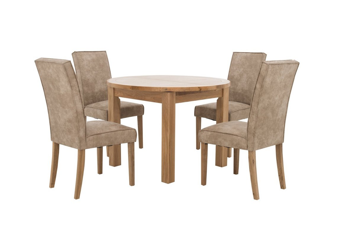 California Round Table and 9 Faux Suede Chairs   Furniture Village