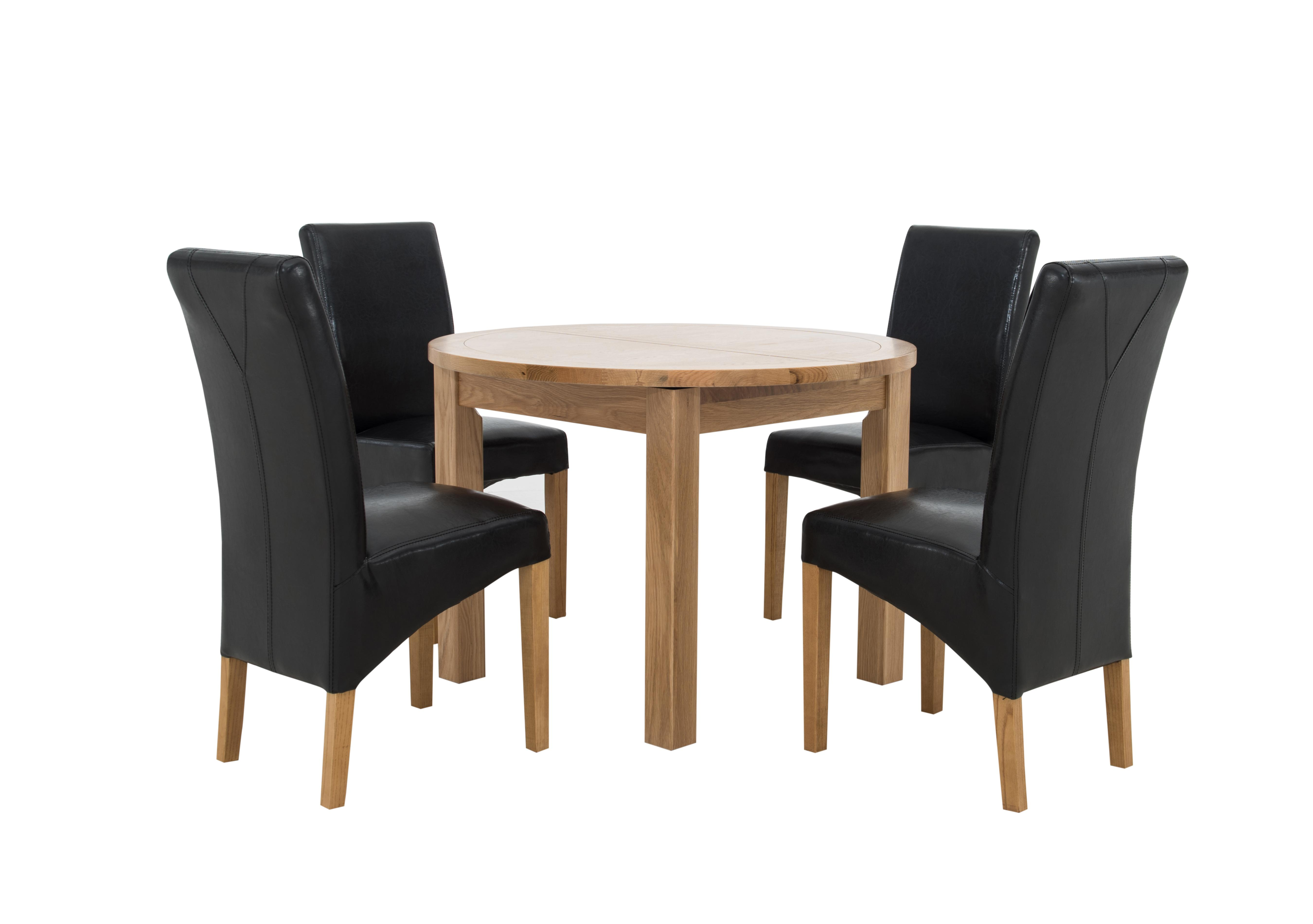 Save £100. Furnitureland California Extending Round Dining Table And 4 Faux  Leather Chairs