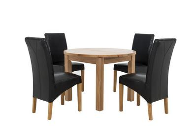 California Round Table And 4 Faux Leather Chairs Furniture Village