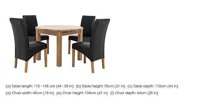 California Extending Round Dining Table and 4 Faux Leather Chairs in  on Furniture Village