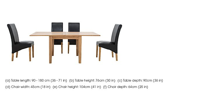 California Flip Top Table and 4 Faux Leather Chairs in  on Furniture Village