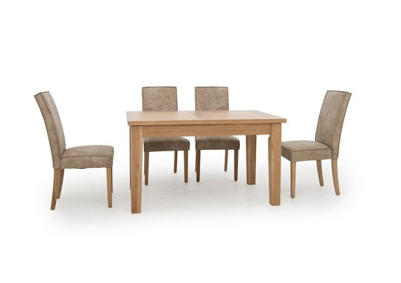 California Rectangular Solid Oak Extending Dining Table And 4 Faux Suede Chairs Furnitureland Furniture Village