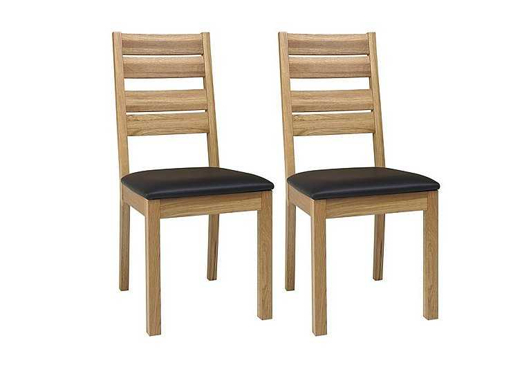 Compton Pair Of Slatted Oak Dining Chairs