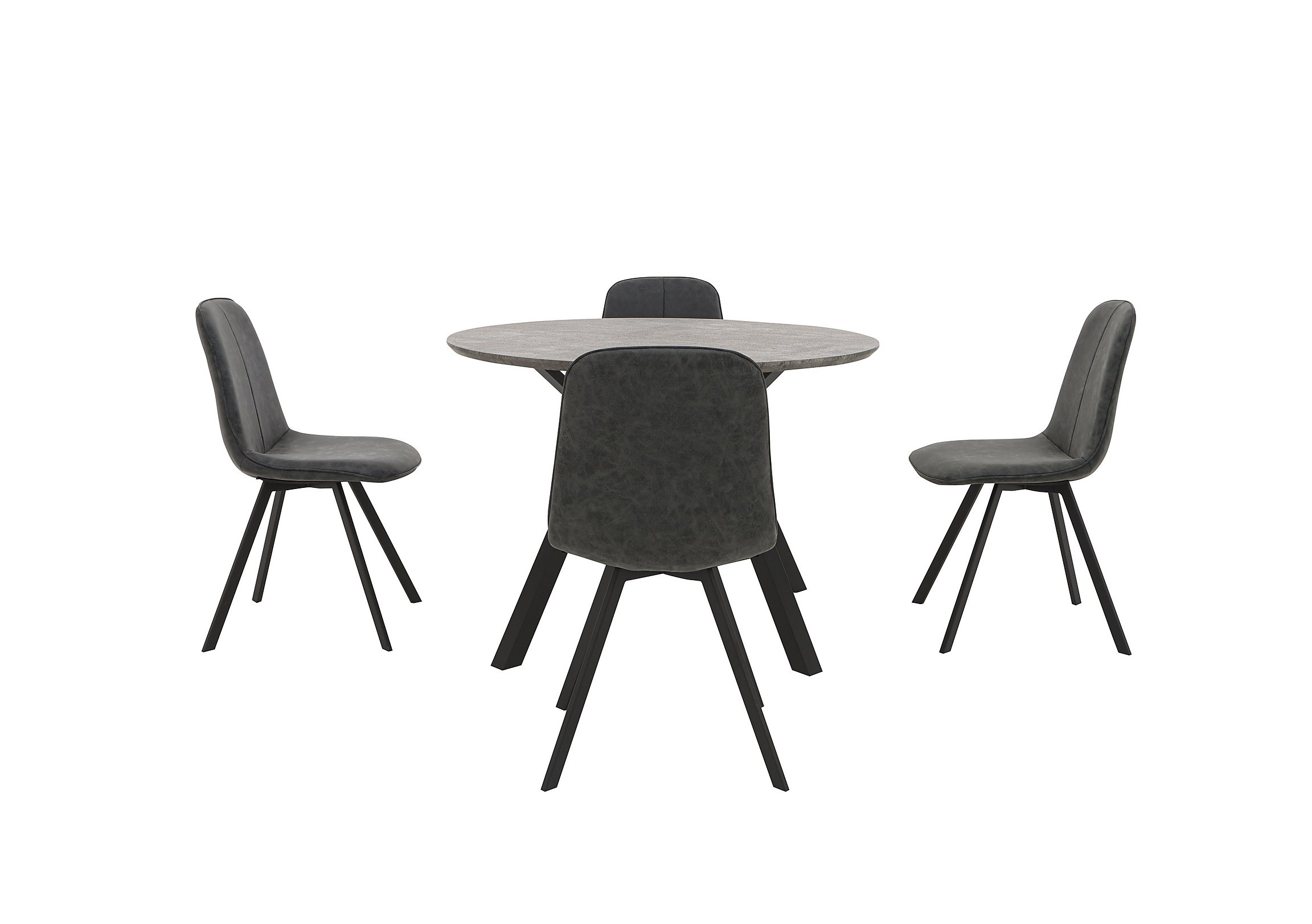 Diego Round Dining Table And 4 Dining Chairs