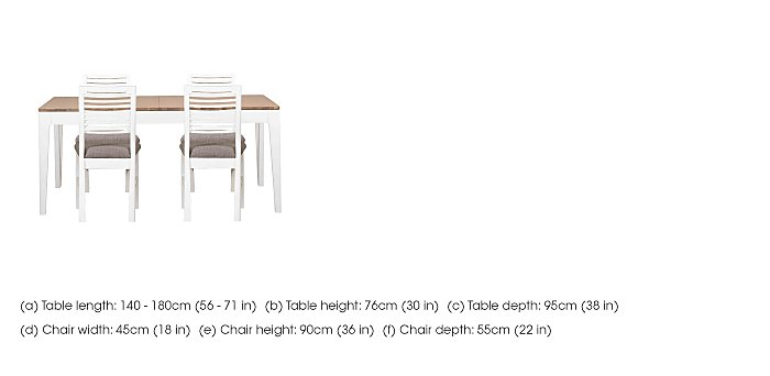 Dixon Small Extending Dining Table with 4 Painted Chairs in  on Furniture Village