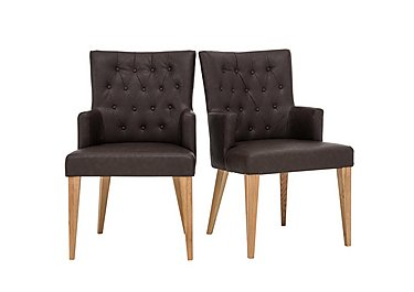 Dorset Pair of Faux Leather Dining Armchairs in  on Furniture Village
