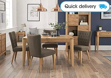 Dorset Small Extending Dining Table And 4 Fabric Dining Chairs