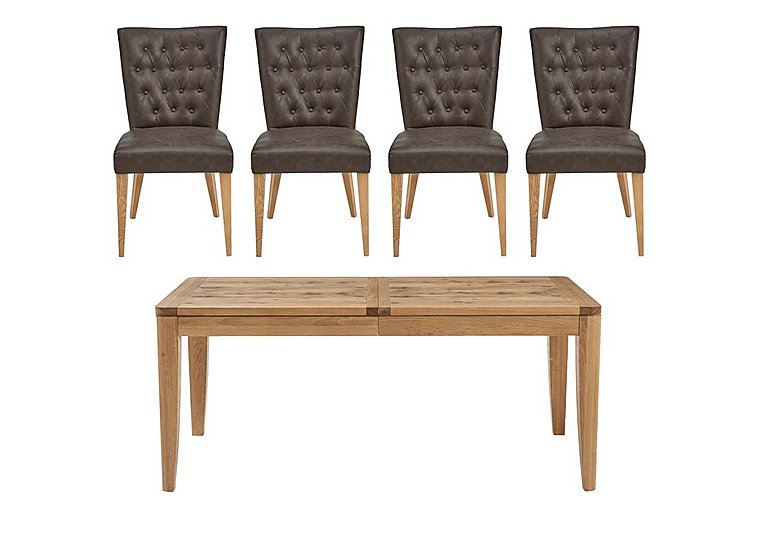 Dorset Large Extending Dining Table And 4 Faux Leather Dining Chair