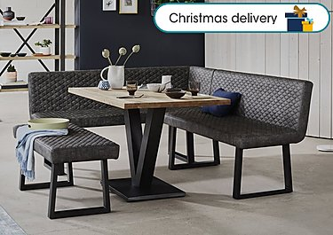 Compact Earth Dining Table Left Hand Facing Corner Bench And Low Bench Set