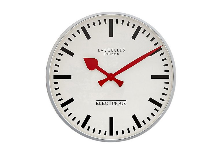 Electric Chrome Wall Clock in  on Furniture Village