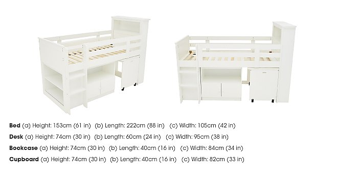 Explorer Mid Sleeper Bed with Desk, Cupboard and Bookcase in  on Furniture Village
