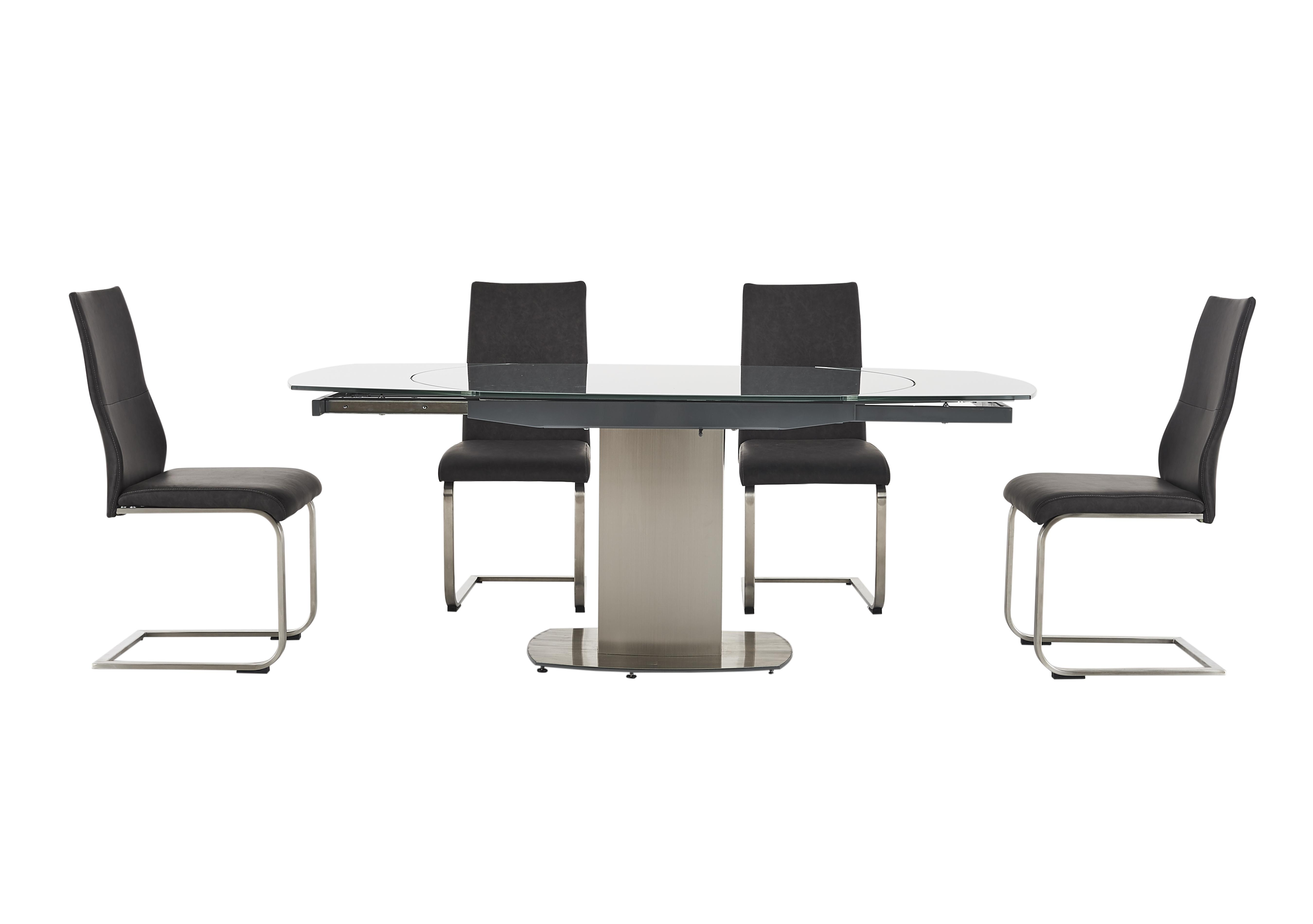 Flow Swivel Glass Extending Dining Table With 4 Chairs