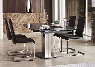 Flow Swivel Glass Extending Dining Table with 4 Chairs in  on Furniture Village