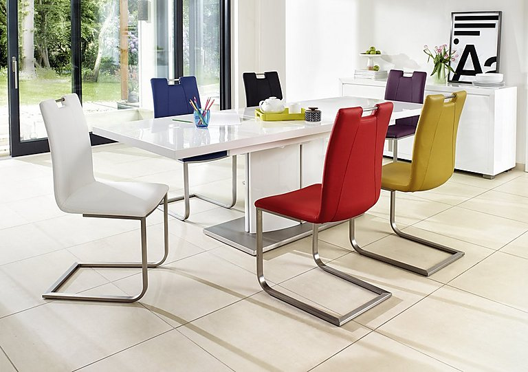 Superieur Grande White High Gloss Extending Dining Table