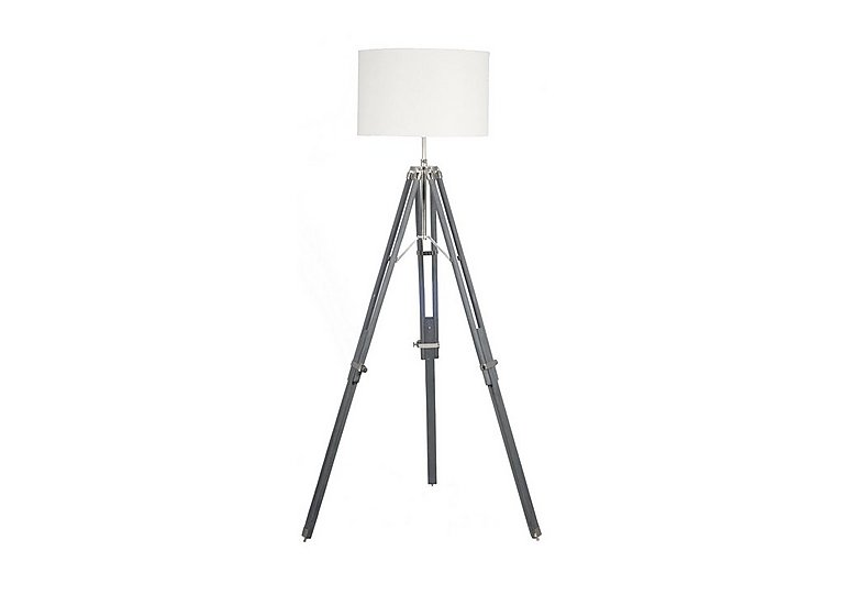 Grey wood tripod floor lamp