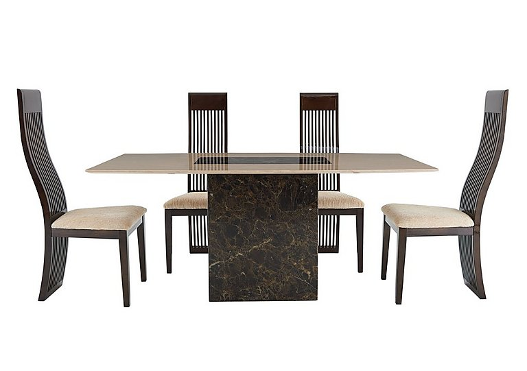 Illusion Table and 4 Slatted Chairs in  on Furniture Village