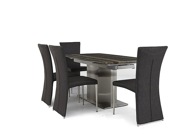 Long Island Dining Table And 4 Edison Chairs Furniture Village