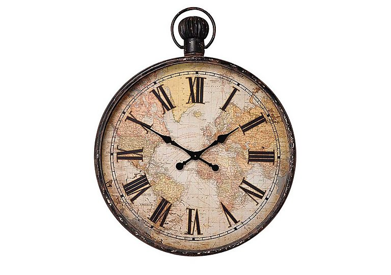 Antique Map Wall Clock Furniture Village