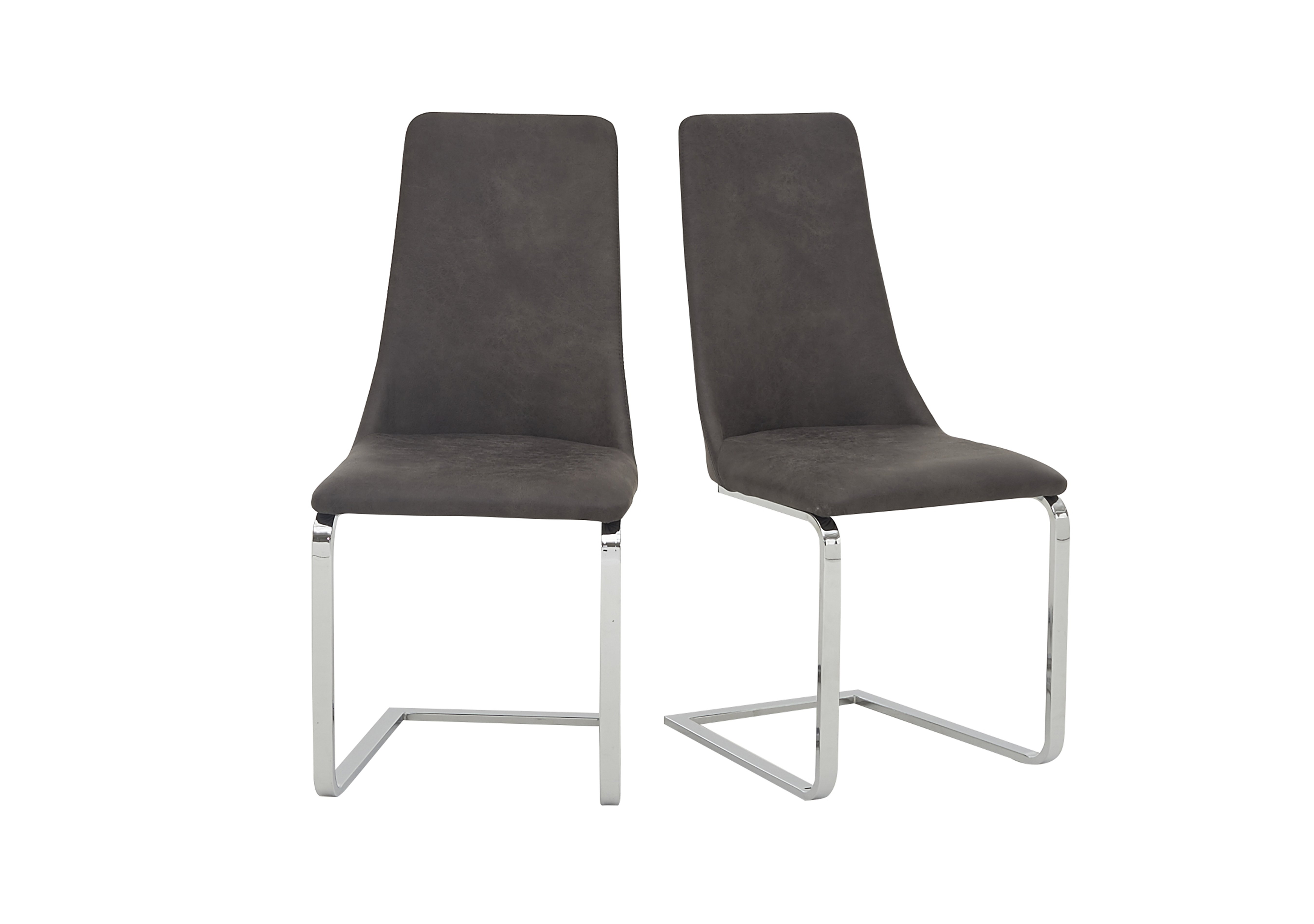 Nevada Pair of Grey Faux Leather Dining Chairs Furniture Village