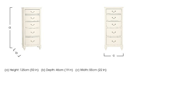 Penelope 5 Drawer Tall Chest in  on Furniture Village