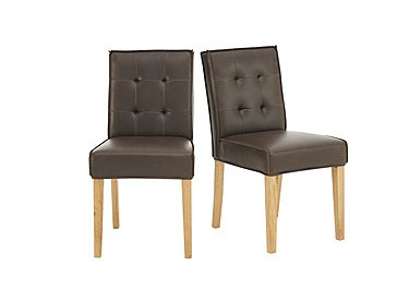 Portland Pair of Club Buttonback Dining Chairs in  on Furniture Village
