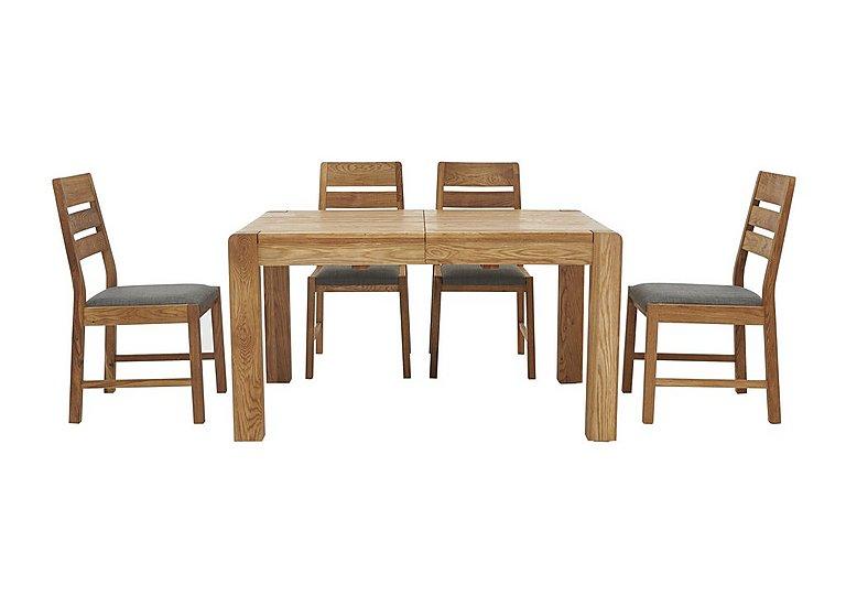 Portland Extending Dining Table and 4 Slatted Back Chairs ...