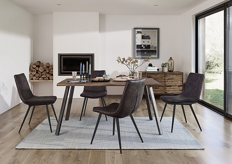 Ranger Dining Table And 4 Grey Dining Chairs