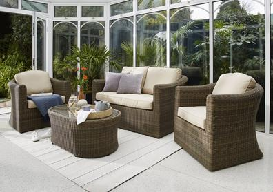 Savannah 4 Piece Rattan Lounge Set With 2 Seater Sofa Furniture