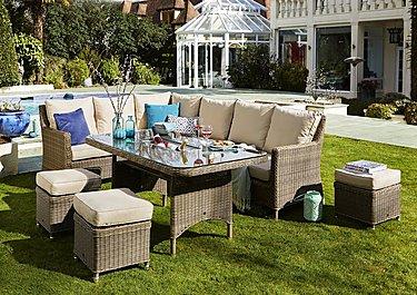 savannah corner rattan dining set with stools and ice bucket table - Furniture Village Garden Furniture