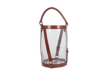 Tan Large Leather Lantern in  on Furniture Village