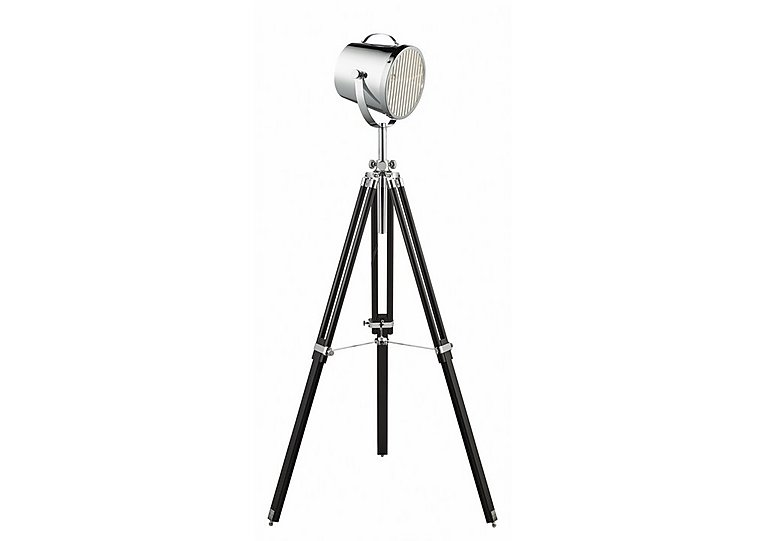 Chrome tripod spotlight floor lamp furniture village for Tripod spotlight floor lamp in teak wood