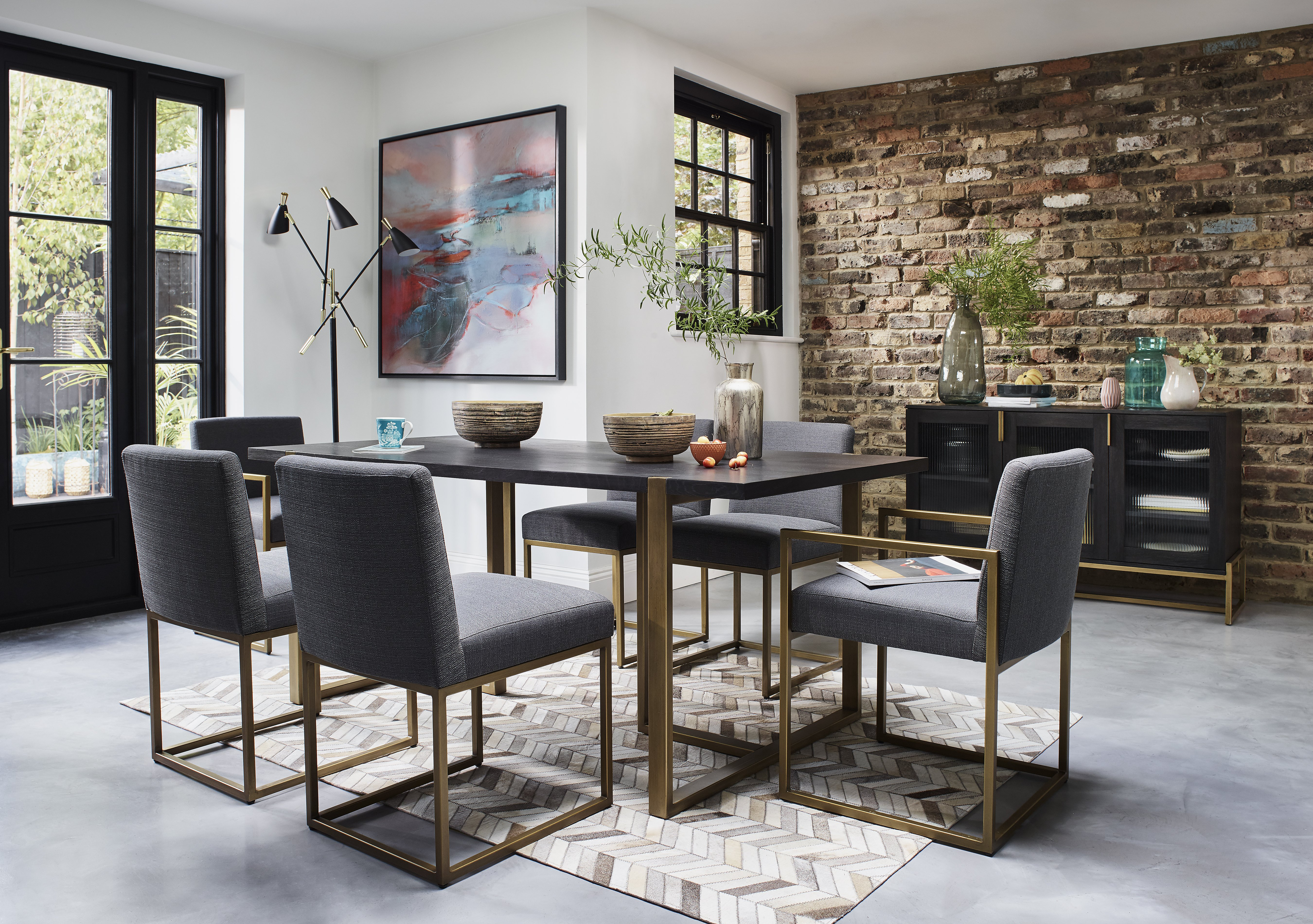 Vogue Dining Table and 4 Upholstered Chairs Furniture Village