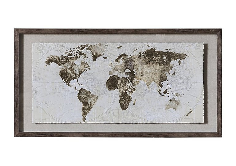 World Map Framed Art - Furniture Village