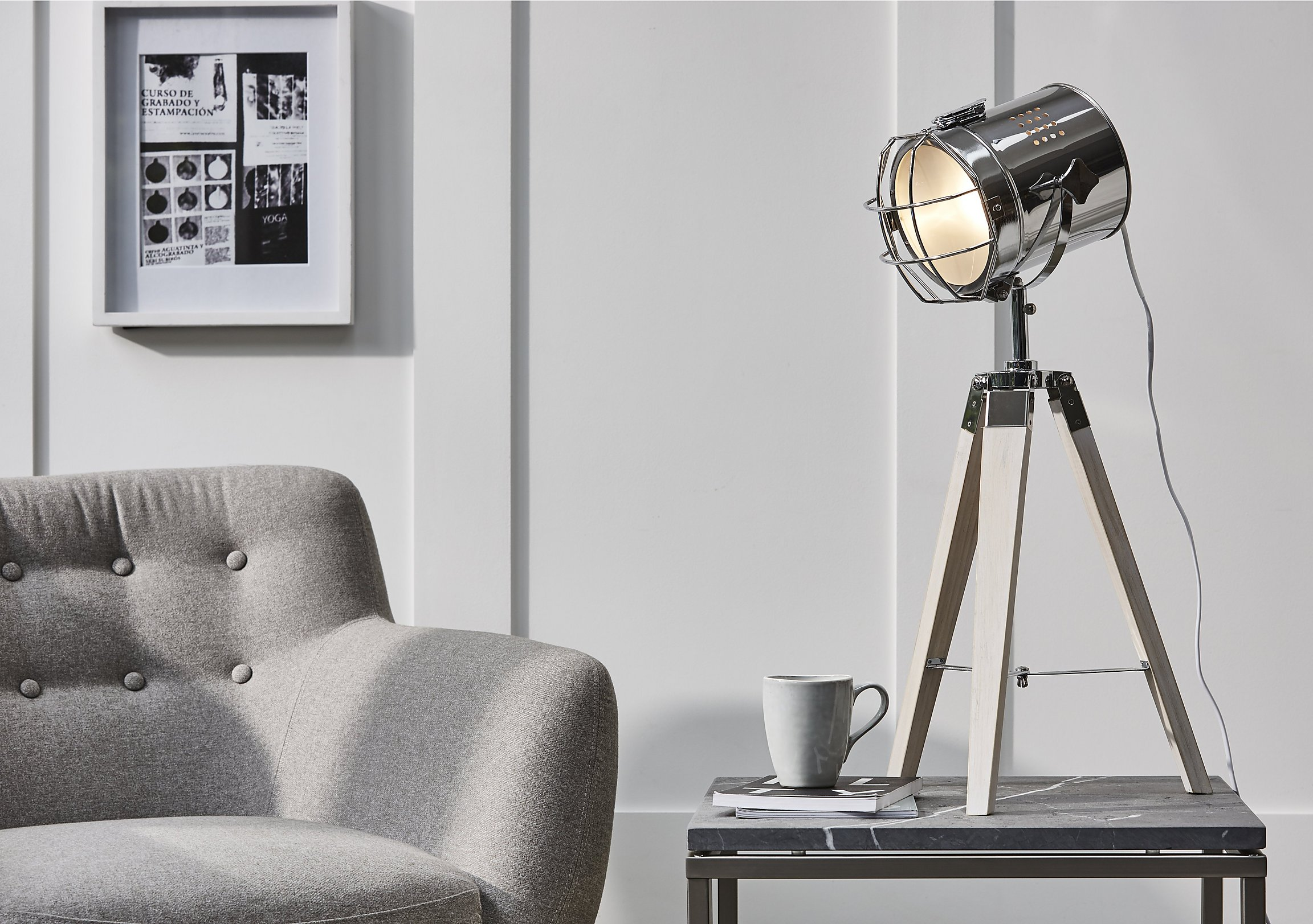 White wash wood tripod table lamp furniture village white wash wood tripod table lamp loading images aloadofball Image collections