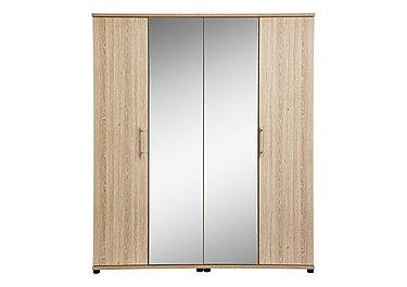 Amari 4 Door Centre Mirror Wardrobe in Kkv - King Oak on Furniture Village