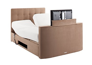 Empire TV Bed in Faux Suede Latte on Furniture Village