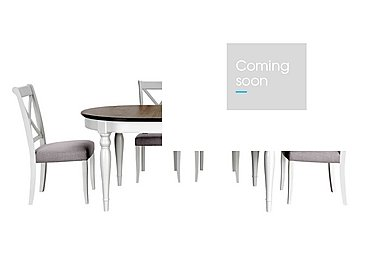 Emily Extending Table and 4 Cross Back Dining Chairs in Soft Grey And Walnut on Furniture Village