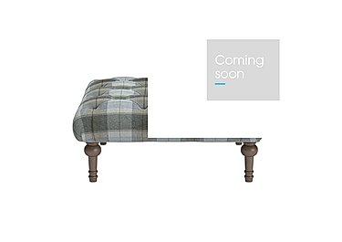 New England Small Addison Fabric Footstool in Blanket Plaid Sky Dark Feet on Furniture Village