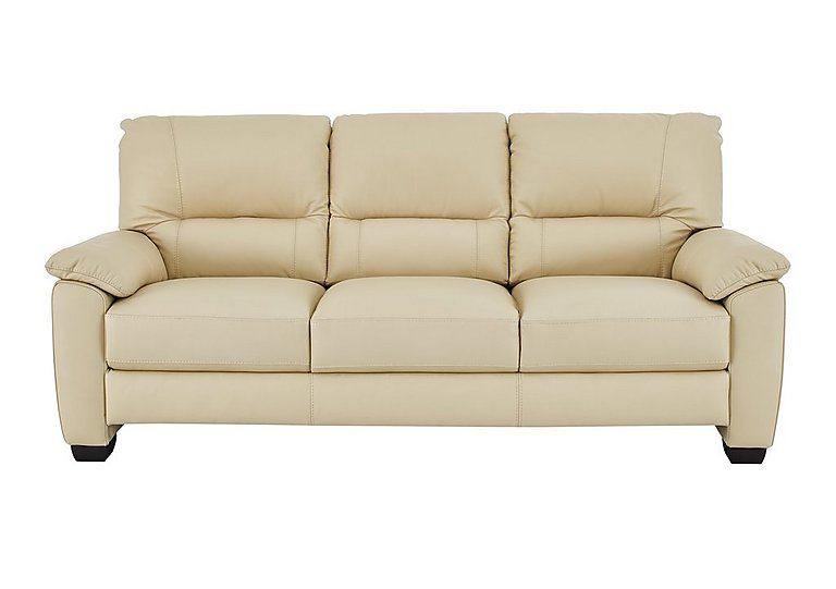 Apollo 3 Seater Leather Sofa in Bv-004c Bone on Furniture Village