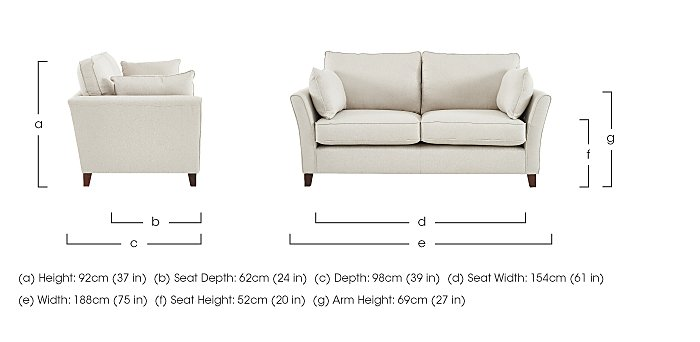 High Street Bond Street 3 Seater Fabric Sofa in  on Furniture Village