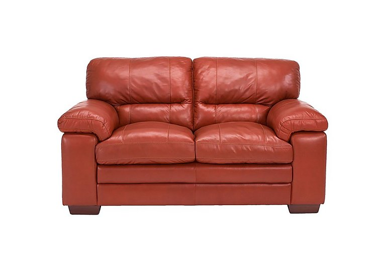 Carolina 2 Seater Leather Sofa in Mb-441c Red on Furniture Village