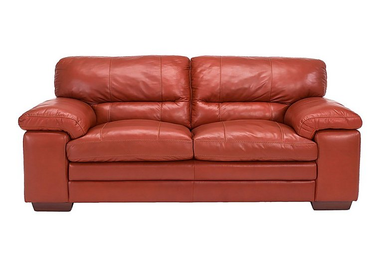 Carolina 2.5 Seater Leather Sofa in Mb-441c Red on Furniture Village